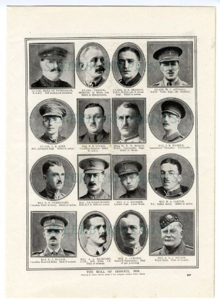 1916 WW1 ROLL OF HONOUR Cedric Charles Dickens HERBERT CARTER Lt. Col. Throckmorton VANSITTART Charles Duncombe